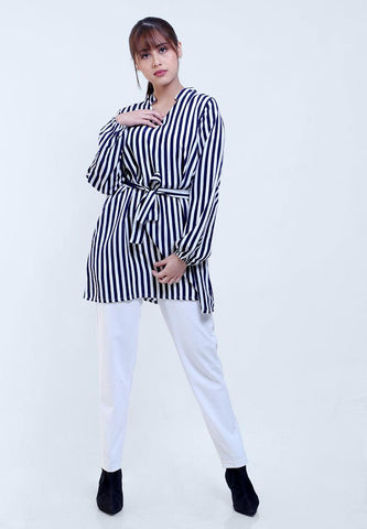 BLOUSE TUNIC V NECK STRIPE PRINT