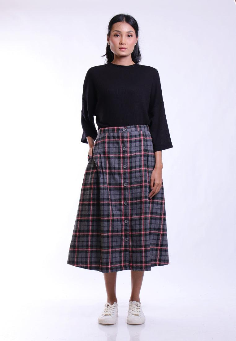 PLAID SKIRT PLEAT OVERPLAY