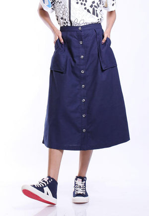 MODA SKIRT A LINE DOUBLE POCKET
