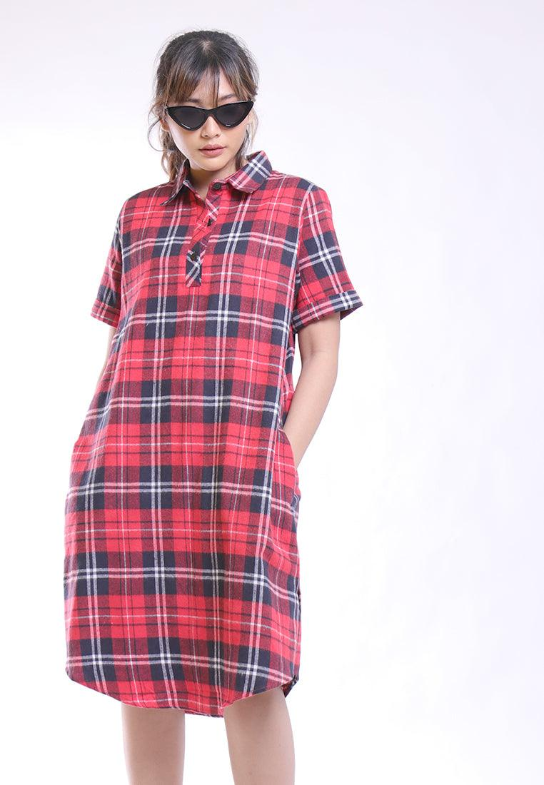 VINTAGE PLAID SHORT SLEEVE DRESS