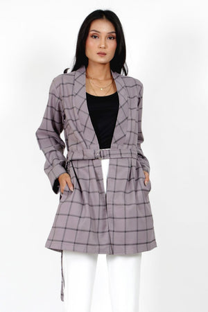LONG LINE COAT PLAID