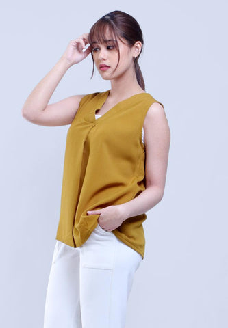 TOP BLOUSE V NECK SLEEVELESS