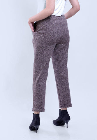 MEAN JAQUARD BROWN PANNA ROLLED PANT