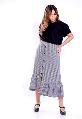 HIGH LOW RUFFLES PLAID SKIRT