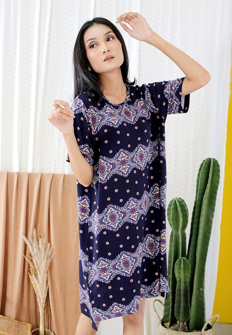 CASUAL LOOSED DRESS PRINTED JERSEY