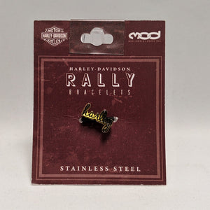 Harley Script Rally Bracelet Charm Gold in Packaging