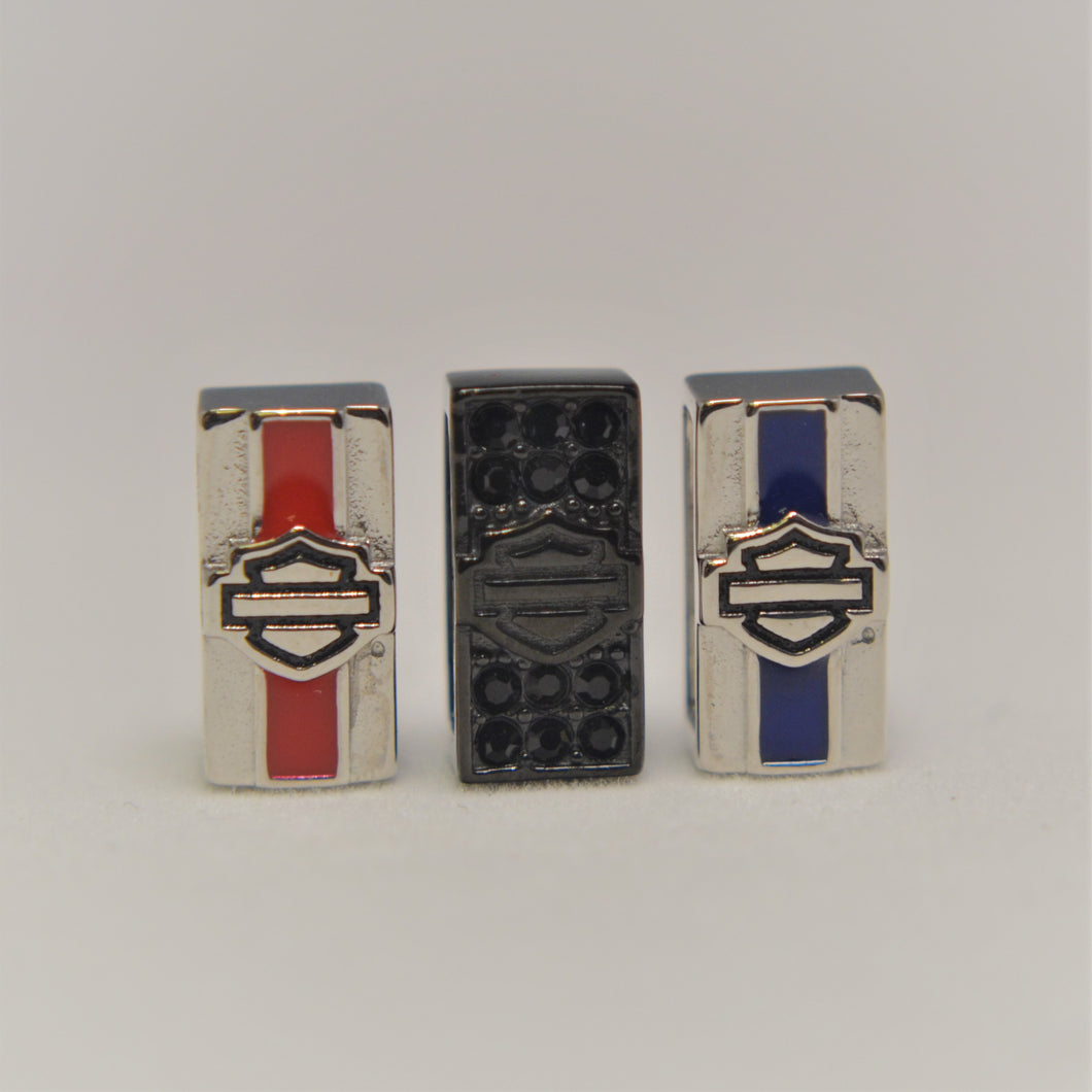 Bar & Shield Rally Charms Red Black Blue