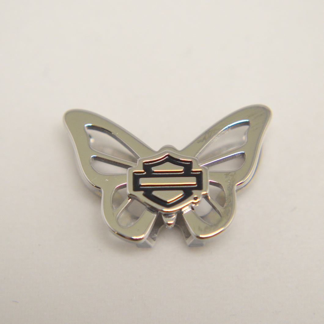 Bar & Shield Silver Butterfly Charm