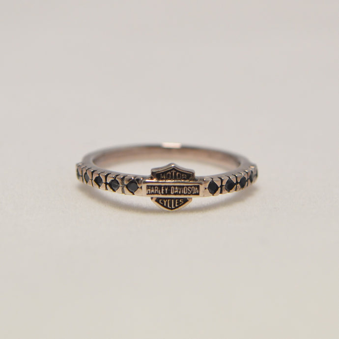 Classic Bar & Shield Jeweled Ring Silver