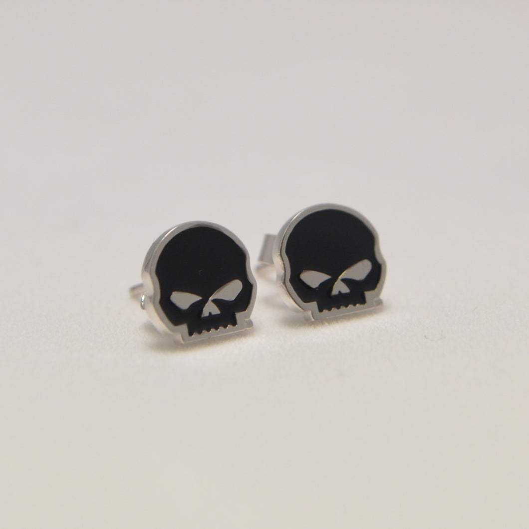 Willie G. Skull Earring Studs Black & Silver