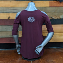 Load image into Gallery viewer, Burgundy Cold Shoulder Shirt