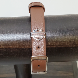 Brown Leather Rally Bracelet Close Up