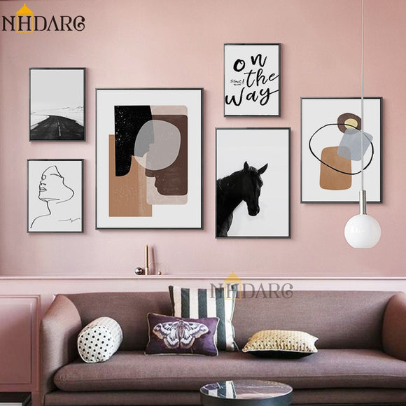 NHDARC Canvas Printing European Retro Fashion Simple Nordic Style ARC00823 Wall Pictures Posters and Prints Home Decor Paitning