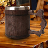 Wood Carving Beer Mug Medieval Europe Natural Beer Cup Old Wood Carving Beer Mug Barrel Cup Stainless Steel inner Retro Beer Mug