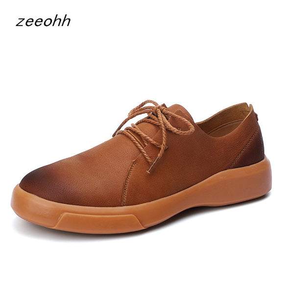 New fashion brand men's casual footwear leather soft flat shoes high quality large size comfortable hot sale sneakers for men
