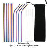 14 pcs/set Reusable Stainless Steel Straws