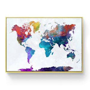 Classic Vintage World Map No Frame Canvas Painting Watercolor Art Retro Poster Wall Picture Nordic Home Decoration Living Room