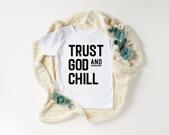 Trust God and Chill Shirt Baby & Kids T-Shirt Religious Toddler Christian TShirt Bible Verse T Shirts Summer Short Sleeve Tee