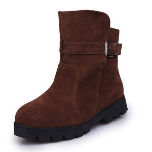 New Women Warm Snow Ankle Boots Buckle Match Solid Martin Boots Shoes High Quality Girls Hot Sale Winter Boots fgb78