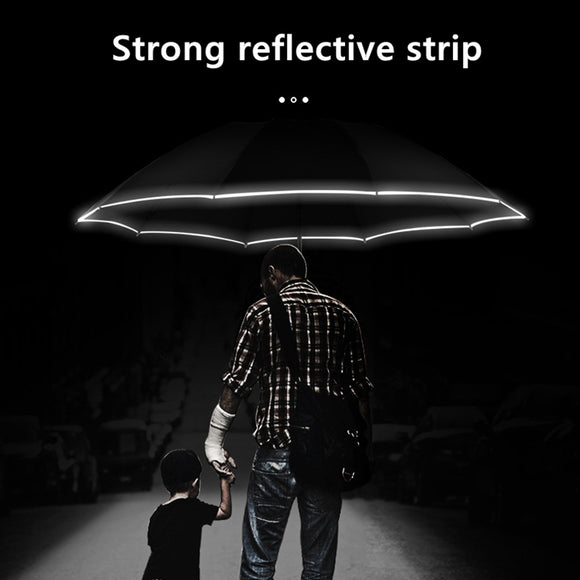 Automatic Reverse Umbrella Led Luminous Windproof 3 Folding Business Strong Umbrella Rain Men Car High Quality 10K Parasol