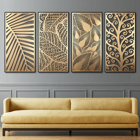 Abstract Golden Plant Leaves Canvas Painting Fashion Wall Art Posters And Prints Modern Living Room Aisle Decoration Home Decor