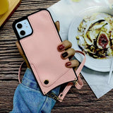 Crossbody Long Chain phonecase Credit Card Wallet Case For iPhone 11 pro max XR XS Max 7 8 6s Plus leather soft cover with strap