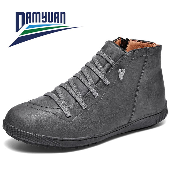 Damyuan Men's Casual  Leather   Men's Shoes .Warm Winter Comfortable Footwear Outdoor Shoes