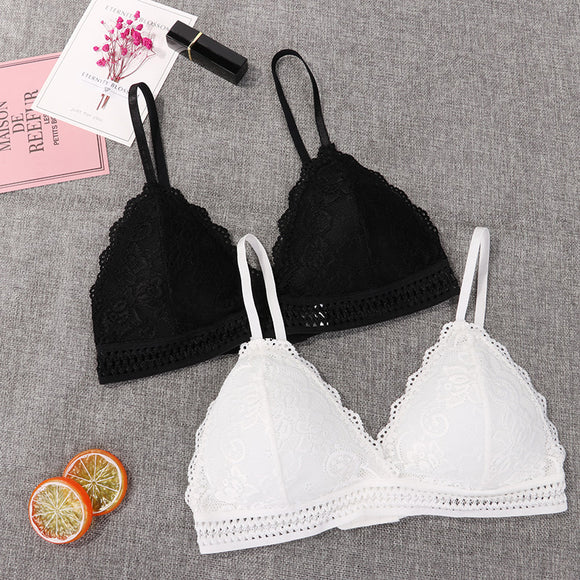 Hot  French Style Bralette Seamless Deep V Lace Bra For Women