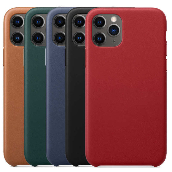 Genuine Leather Phone Case for IPhone 11 Pro Max Back Cover Metal Button Luxury Logo Case for IPhone 11 Pro Max  Protective Case