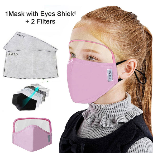 Kids Dust proof Outdoor Protective Mask With Eyes Shield + 2 Filters