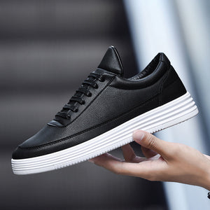 Men Sneakers Soft Leather Casual Shoes Fashion Mens Brand Sneakers High Quality Men's White Shoes Black A015