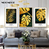 Nordic Golden Leaves Decorative Pictures Abstract Canvas Painting Retro Paintings on The Wall Posters for Living Room Home Decor