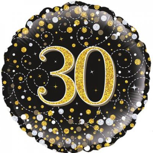 Sparkling Fizz Black & Gold Birthday Foil