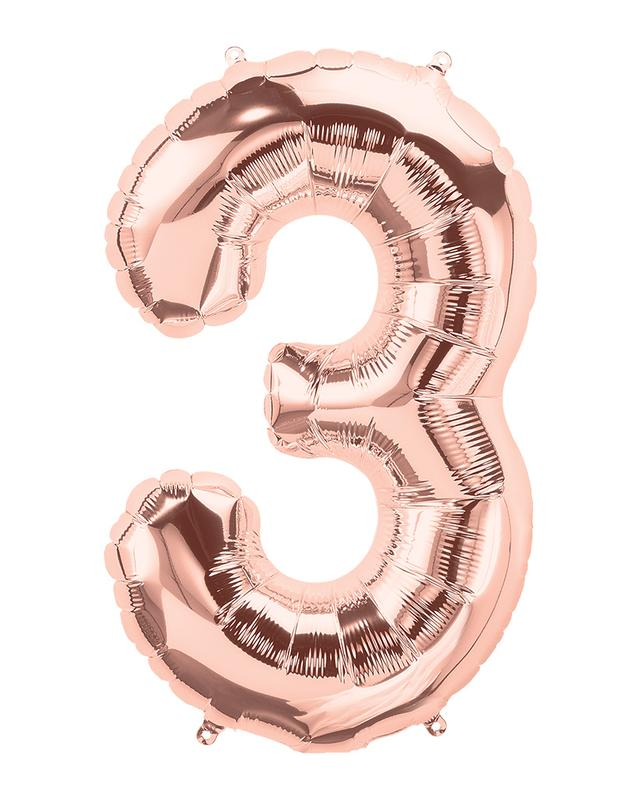 86cm Rose Gold Number Balloons