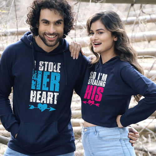 I Stole His/Her Heart, Matching Hoodie For Men And Crop Hoodie For Women