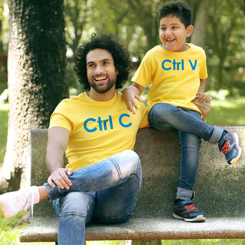 Yellow Ctrl C/Ctrl V Father-son Tees