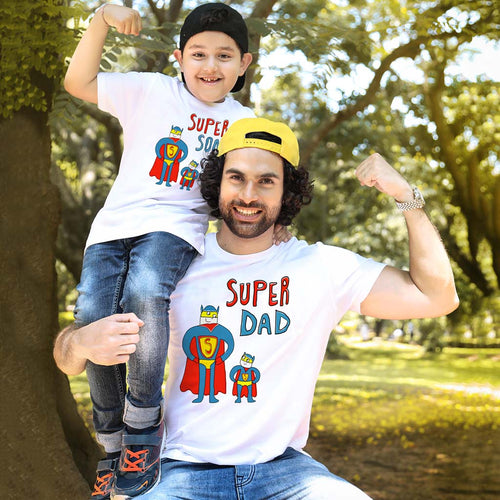 Super Dad and Son White Tees