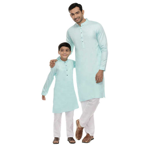 Pastel Green kurta with white pyjama set for father-son