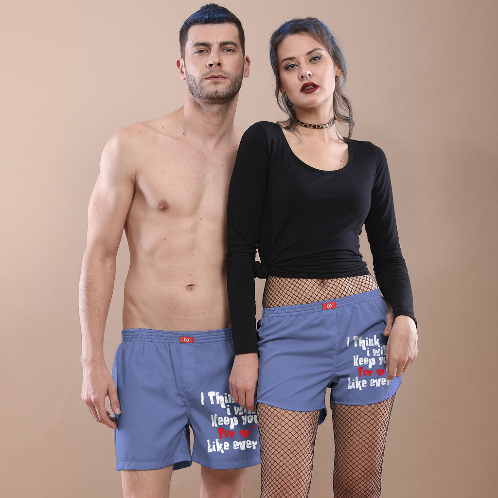 8b3f3ca814 I Think I Will Keep You Blue Solid Matching Couple Boxers
