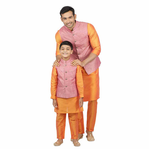 Pink bandi with orange kurta & pyjama for father-son