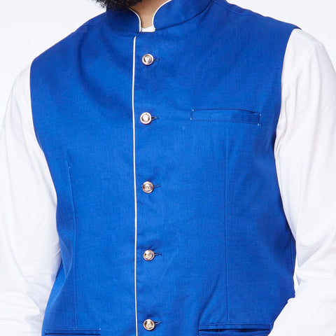Royal Blue detailed bandi with white kurta pyjama set for father son