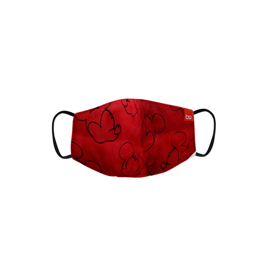 Kids Red Micky Mouse Printed Protective Masks( Set Of 3)