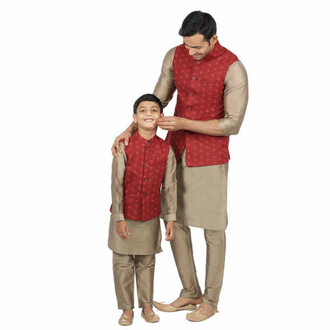 Maroon geometric print bandi with olive green kurta & pyjama for father-son