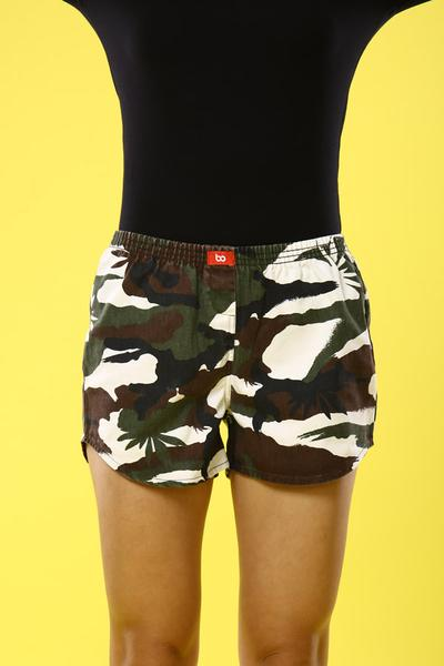 Camouflage Print Cotton Boxers For Women