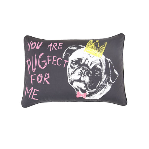 "Cute Pugfect,  Pillow Cover Set of 2 (19"" X 27"")"