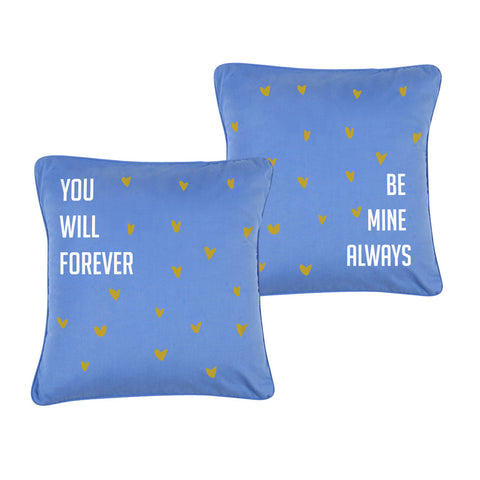 "Be Mine Forever, Pillow Cushion Cover Set of 2(16"" X  16"")"