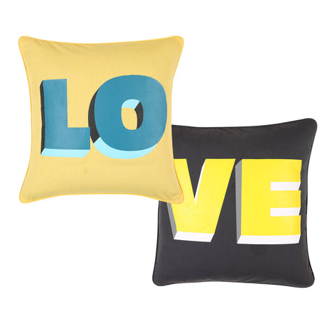 "Love, Pillow Cushion Cover Set of 2 (16"" X 16"")"
