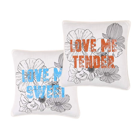 "Love Me Sweet, Pillow Cushion Cover Set of 2(16"" X 16"")"