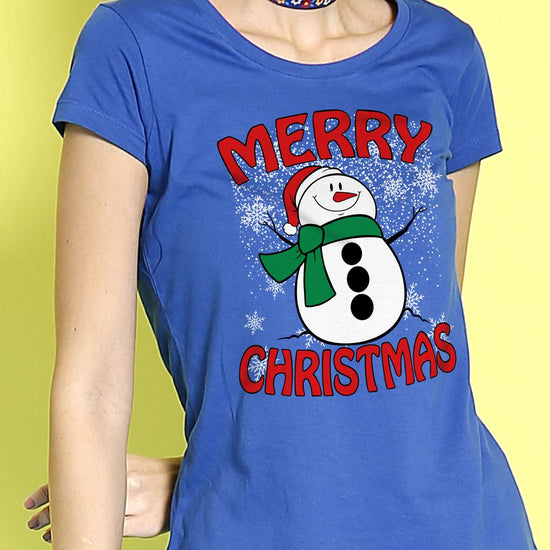 Merry Christmas Snowman, Mom And Daughter Tees