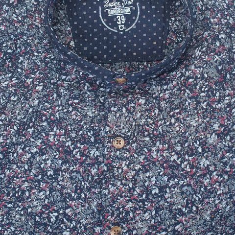 Father/Son Printed denim mandarin collar shirt